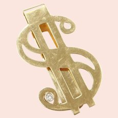 Diamond .035 Carat Dollar Sign $ Money Clip