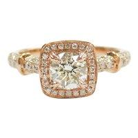 GIA Certified Diamond .82 Carat (1.42 ctw) Halo Engagement Ring 14k Rose Gold