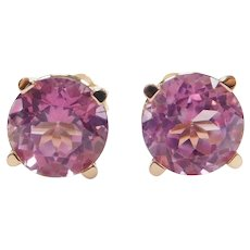 Color Changing Purple Pink Sapphire 5.13 ctw Stud Earrings 14k Rose Gold