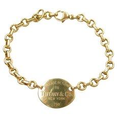 Retired Designer Oval Tag Bracelet 18k Gold ~ Please Return to Tiffany, Tiffany & Co
