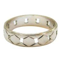 Vintage Geometric Pierced Band Ring 14k Gold Two-Tone