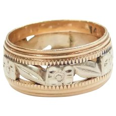 Vintage Floral Band Ring 14k White and Rose Gold
