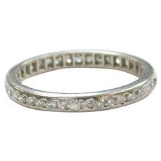 Art Deco Diamond .57 ctw Eternity Band Ring Platinum Size 6