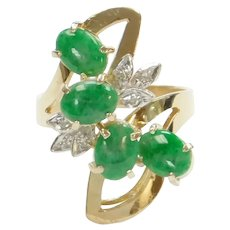 Apple Green Jade and Diamond 1.69 ctw Cocktail Ring 18k Gold Two-Tone