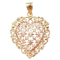 Romantic Heart Pendant / Charm 14k Yellow and Rose Gold