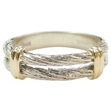 Double Row Twisted Cable Band Ring 14k Gold Two-Tone