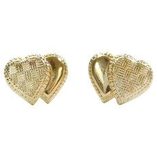 Double Heart Stud Earrings 14k Gold