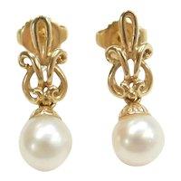 Cultured Pearl Ornate Drop Earrings 14k Gold