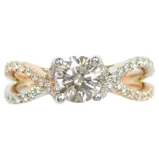 GIA Certified Diamond .80 Carat (1.24 ctw) Bypass Engagement Ring Two-Tone 14k White and Rose Gold