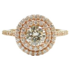 GIA Certified Diamond .81 Carat (1.31 ctw) Double Halo Engagement Ring 14k Rose Gold 143