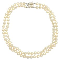 Vintage Cultured Pearl and Diamond .235 ctw Double Strand Necklace with Fancy 14k White Gold Clasp
