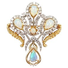 Vintage Opal and Diamond 3.41 ctw Pendant / Pin / Brooch 18k Gold and Platinum