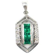 Emerald and Diamond .65 ctw Pendant 14k White Gold