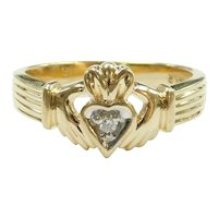 Diamond .04 Carat Claddagh Ring 14k Gold Two-Tone
