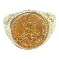 1945 Dos Pesos Mexican Coin Ring 14k and 22k Gold
