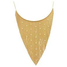 Vintage Diamond .93 ctw Fringe Bib Necklace 14k Gold