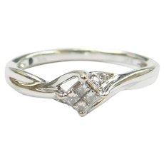 Diamond and Sapphire .15 ctw Invisible Set Diamond Ring 10k White Gold