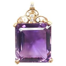 Amethyst and Diamond 17.93 ctw Enhancer Pendant 14k Gold