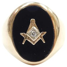 Vintage Gents Black Onyx and Diamond .035 Carat Masonic Ring 14k Gold ~ Men's