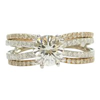 GIA Certified Diamond 1.19 Carat (1.78 ctw) Engagement Ring and Wedding Band Set 14k White and Rose Gold Two-Tone 143
