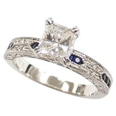 GIA Certified Diamond 1.00 Carat and Sapphire (1.258 ctw) Vintage Inspired Engagement Ring 14k White Gold