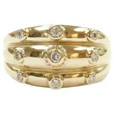 Vintage Diamond .24 ctw Bohemian Triple Row Band Ring 14k Gold