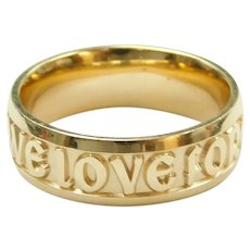 """May We Love Forever"" Wedding Band Ring 14k Gold"