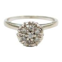 Vintage Diamond .18 ctw Illusion Top Ring 10k White Gold