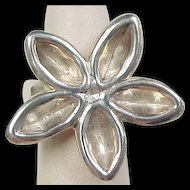 Vintage Sterling Silver BIG Flower Ring