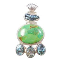 BIG Sterling Silver Gaspeite and Abalone Pendant