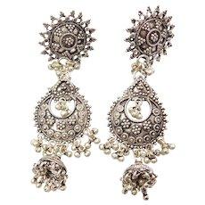 Sterling Silver LONG Dangle Earrings Ornate Bead Design