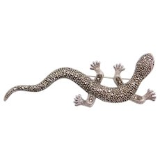"HUGE 4"" Sterling Silver Lizard Pin ~ Marcasite and Garnet"