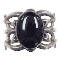 Vintage Sterling Silver BIG Onyx Cuff Bracelet