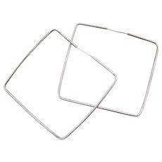 BIG Geometric Square Hoop Earrings Sterling Silver