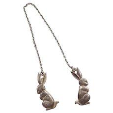 Sterling Silver Bunny Rabbit Baby Bib Clip / Sweater Clip