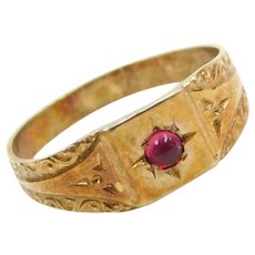 Art Deco 10k Gold Red Glass Baby / Childs Ring