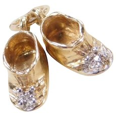 Vintage 14k Gold Baby Booties / Shoes Charm with Diamond Accents