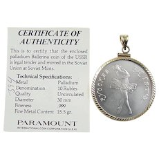 1990 Palladium Ballerina Coin Pendant in 14k Gold Bezel Setting ~ Certificate of Authenticity!