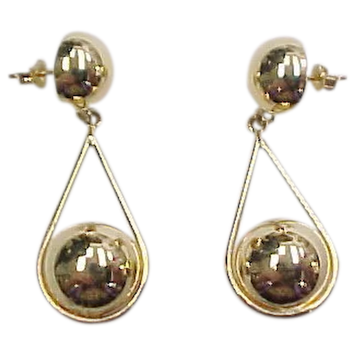 e97967f2a Vintage 14k Gold Ball Dangle Earrings : Arnold Jewelers | Ruby Lane