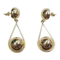 Vintage 14k Gold Ball Dangle Earrings
