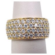 Vintage Gold Vermeil Wide Faux Diamond Band Ring