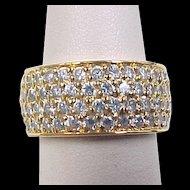 Vintage Gold Vermeil Wide Faux Diamond Band Ring