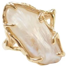 14k Gold Freshwater Baroque Pearl Ring