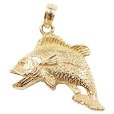14k Gold Bass Fish Charm / Pendant