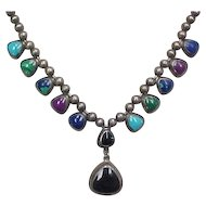 Vintage Sterling Silver Stone Necklace