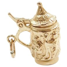 14k Gold Ornate Beer Stein with Opening Lid