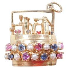 14k Gold Jeweled Beverage Bar Charm
