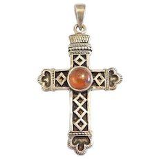 Sterling Silver Big Amber Cross Pendant