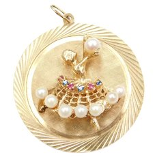 BIG 14k Gold Ballerina Disk Charm ~ Ballet ~ Cultured Pearls, Ruby and Blue Spinel