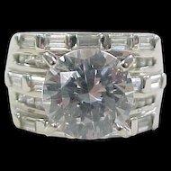 Vintage Sterling Silver Big Faux Diamond Ring
